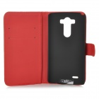IKKI Butterfly Patterned Protective Flip Open PU Case w/ Stand + Card Slot for LG G3 / D855 - Red
