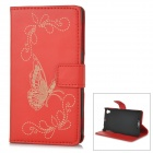 IKKI Protective Flip Open PU Case w/ Stand + Card Slot for Sony L39h / Xperia Z1 / Xperia i1 - Red