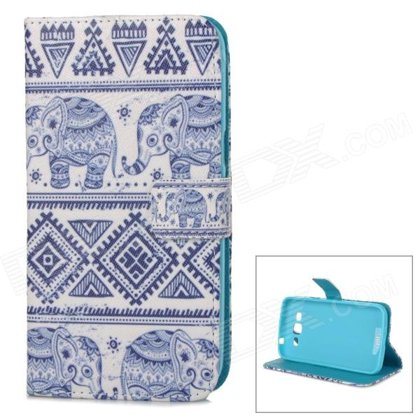IKKI Elephant Patterned Flip-Open PU Case w/ Stand + Card Slot for Samsung Galaxy GRAND 2 / G7106 protective flip open pu case w stand card slots for samsung galaxy s4 active i9295 black