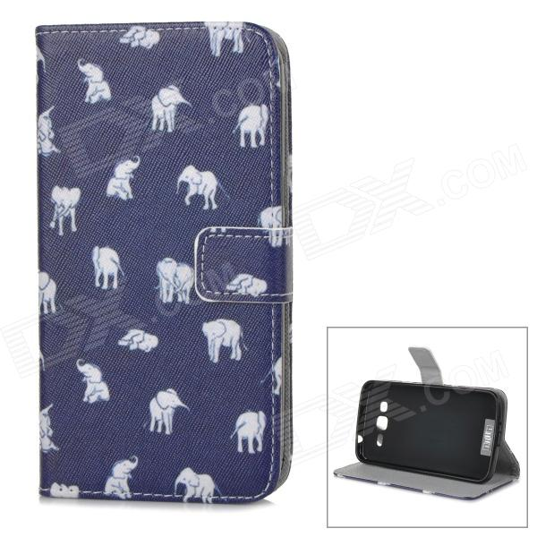 IKKI Calf Elephant Pattern Flip-Open PU Case w/ Stand + Card Slot for Samsung Galaxy GRAND 2 / G7106 ikki sweet cartoon pattern flip open pu case w holder card slot for samsung galaxy s3 mini i8190