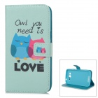 IKKI Owl Patterned Flip-Open PU Case w/ Stand + Card Slot for Samsung Galaxy GRAND 2 / G7106
