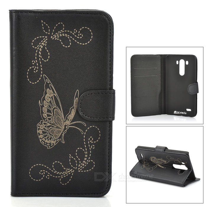 IKKI Butterfly Patterned Protective Flip Open PU Case w/ Stand + Card Slot for LG G3 / D855 - Black protective flip open pu case w stand card slots for samsung galaxy s4 active i9295 black