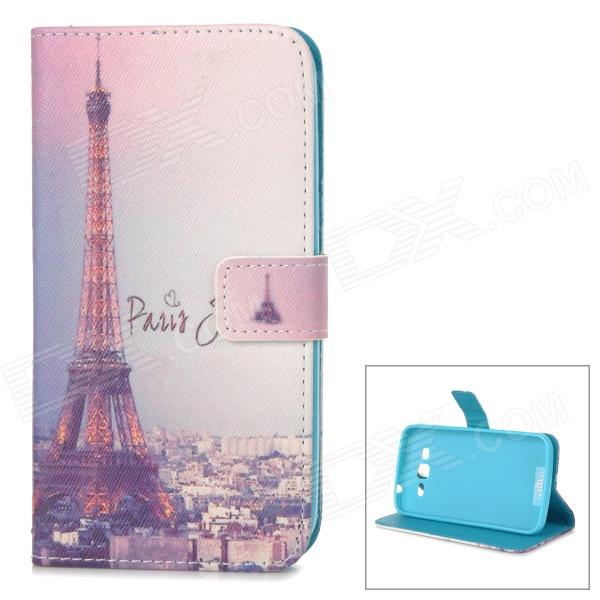IKKI Eiffel Tower Pattern Flip-Open PU Case w/ Stand + Card Slot for Samsung Galaxy GRAND 2 / G7106 ikki sweet cartoon pattern flip open pu case w holder card slot for samsung galaxy s3 mini i8190