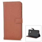 Lichee Pattern Protective Flip-open Split Cow Leather Case w/ Stand for HTC ONE 2 / M8 - Brown