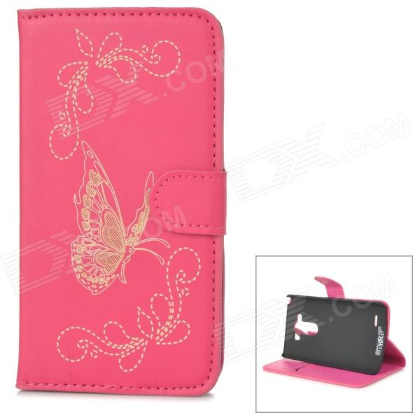 IKKI Butterfly Style Protective Flip Open PU Case w/ Stand + Card Slot for LG G3 / D855 - Deep Pink protective flip open pu case w stand card slots for lg g3 d855 black