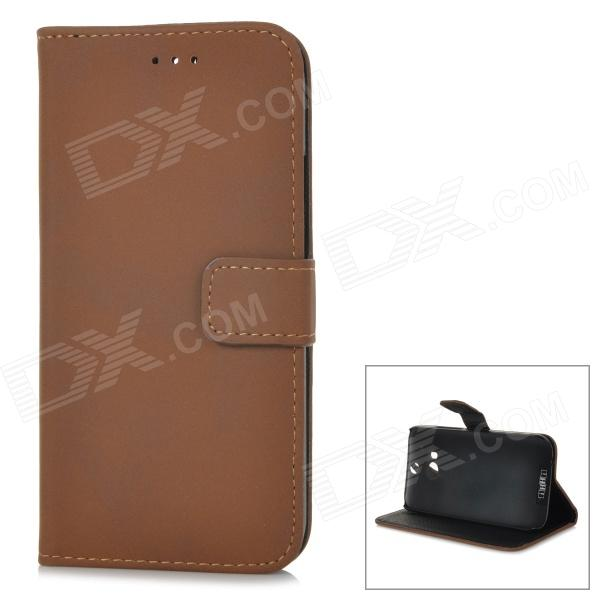 Protective PU Leather Flip-open Case w/ Stand for HTC ONE 2 / M8 - Deep Brown kinston knitting color pattern pu protective leather flip open case w stand for htc one mini m4