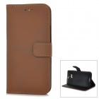 Protective PU Leather Flip-open Case w/ Stand for HTC ONE 2 / M8 - Deep Brown