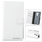 DULISIMAI Protective Flip Open PU + PC Case w/ Stand + Card Slot for LG G3 - White