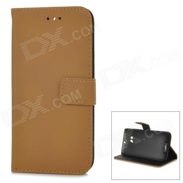 Protective Flip-open PU Leather Case w/ Stand for HTC ONE 2 / M8 - Light Brown чехол flip case для htc one sv черный