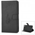 IKKI Protective Flip Open PU Case w/ Stand + Card Slot for Sony L39h / Xperia Z1 / Xperia i1 - Black