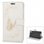 IKKI Protective Flip Open PU Case w/ Stand + Card Slot for Sony L39h / Xperia Z1 / Xperia i1 - White