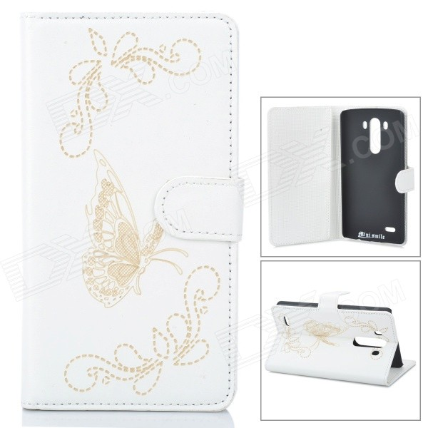 IKKI Butterfly Patterned Protective Flip Open PU Case w/ Stand + Card Slot for LG G3 / D855 - White protective flip open pu case w stand card slots for lg g3 d855 black