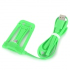 USB 4-Pin to Micro USB 5-Pin Data Sync. / Charging Cable w/ Stand for HTC + More - Green (120cm)