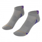 W01 Outdoor Sports Leisure Soft Breathable Deodorant Cotton Socks - Grey + Blue (Free Size /  Pair)