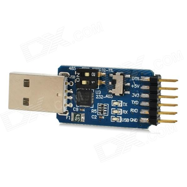 C3A4 USB to UART Serial Port  CP2102 TTL / 485 / 232 Switch Free Module - Blue + Black rs485 to ttl communication module 3 3v