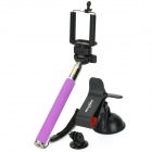 Retractable Selfie Monopod w/ Holders / Adapter for Samsung / HTC / IPHONE + More - Purple