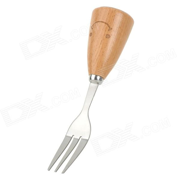 KA-14-00011 Cute Smily Beech Handle Stainless Steel Fork - Wood Color + Silver