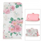 Floral Patterned Flip-Open PU Leather Case for Samsung Galaxy Grand 2 / G7106 - White + Pink