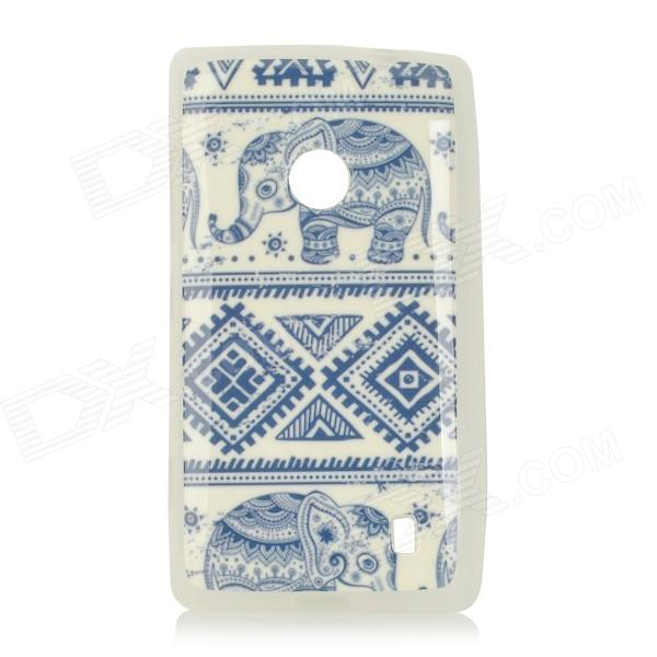 Elephant Pattern Protective TPU Case for Nokia N520 - White + Blue