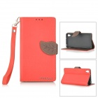 DULISIMAI Lichee Pattern Retro Flip-Open PU + TPU Case for Sony Xperia Z2 w/ Stand - Red + Brown