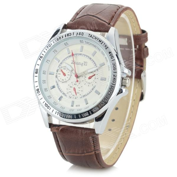Zhongyi Men's PU Band Analog Quartz Wrist Watch - Brown + White (1 x 626)