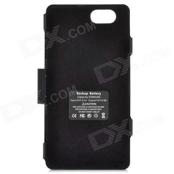 Sony Xperia Z1 Mini M51w 3500mAh Backup Battery Case w/ Holder - Black
