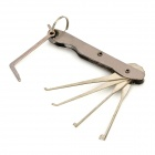 B061 Fold-up Steel Lock Picking Picks + Torsion Wrench Tool Set - Silver