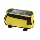 Roswheel Universal Touch Screen Top Tube Saddle Bag w/ Earphone Hole for Cell Phone - Yellow (S)
