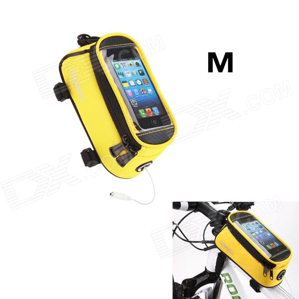 Roswheel Universal Touch Screen Top Tube Saddle Bag w/ Earphone Hole for Cell Phone - Yellow (M)