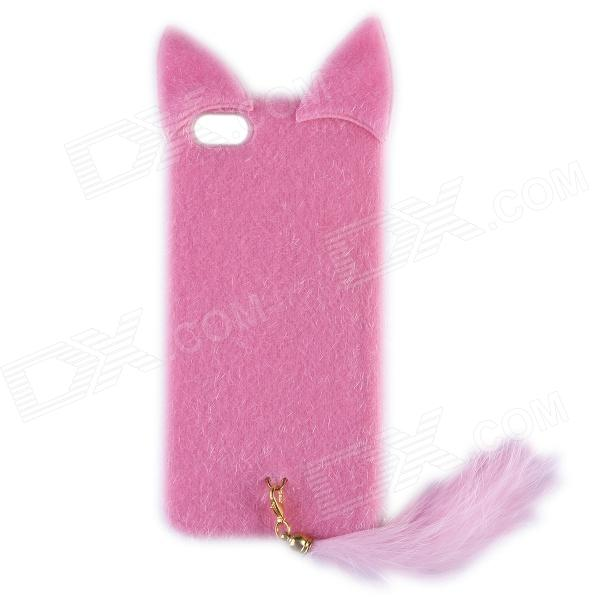 Latest Released Fashion Plush Mink Style Protective PC Case with Tail for IPHONE 5 / 5S - Pink new cute leopard fur mouse mink tail soft ptotective jelly case silicone cover for iphone 5s 5 rose