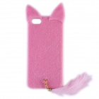Latest Released Fashion Plush Mink Style Protective PC Case with Tail for IPHONE 5 / 5S - Pink
