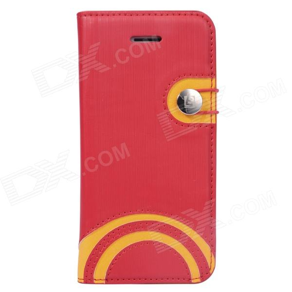 Baseus LTAPIHMINI-RW09 Rainbow Pattern Leather Case for IPHONE 5C - Red