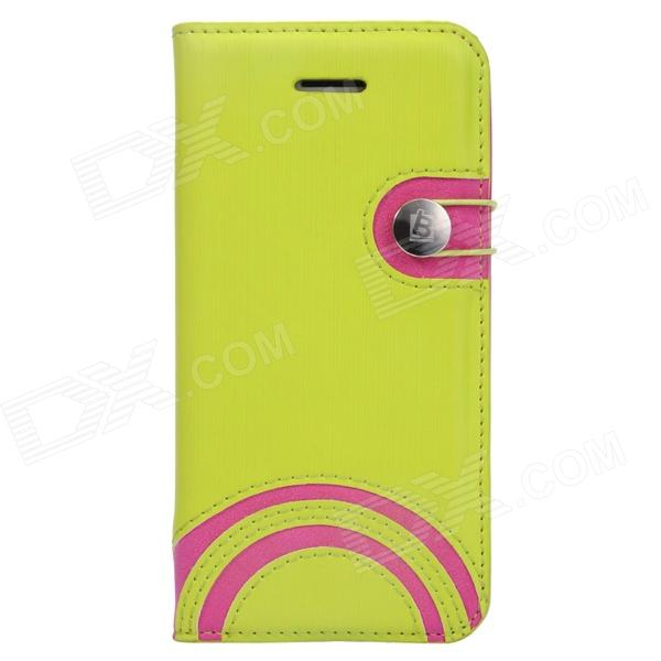 Baseus LTAPIHMINI-RW06 Rainbow Pattern Leather Case for IPHONE 5C - Green