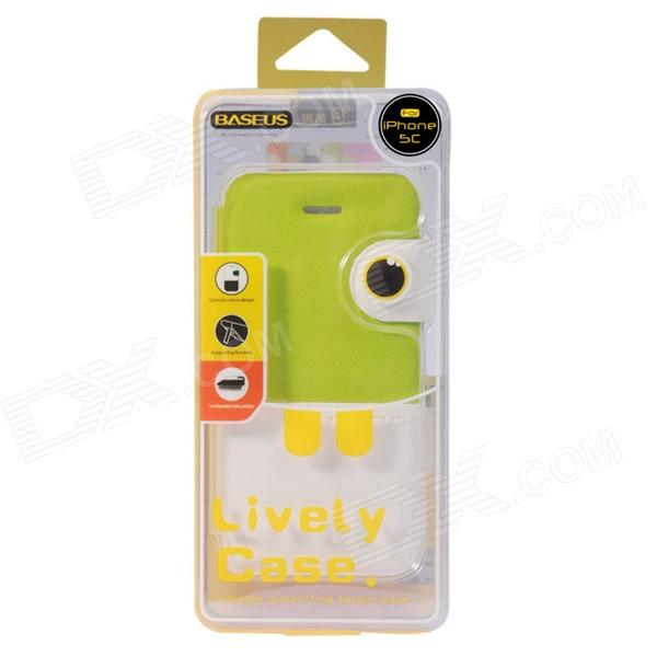 Iphone 5c Green With White Case Baseus Lively pu Case ...