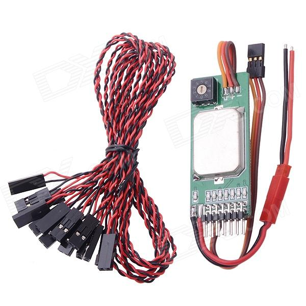 RCD3003 Multi-function Remote Stepping Switch Smoke Light Control for R/C Helicopter - Green multi function green