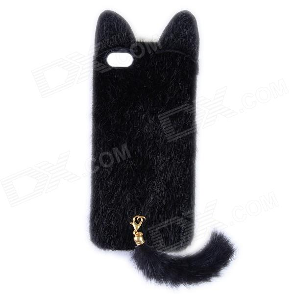 Latest Released Fashion Plush Mink Style Protective PC Case with Tail for IPHONE 5 / 5S - Black new cute leopard fur mouse mink tail soft ptotective jelly case silicone cover for iphone 5s 5 rose