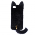 Latest Released Fashion Plush Mink Style Protective PC Case with Tail for IPHONE 5 / 5S - Black