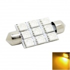 HONSCO Festoon 41mm 2W 150lm 9-5050 SMD LED Amber Yellow Light Dome Bulb for Car (DC 12V)