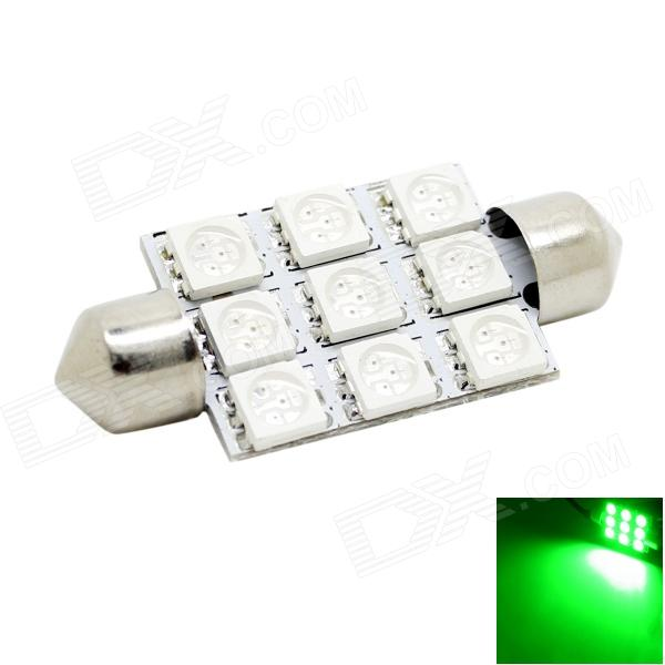 HONSCO Festoon 41mm 2W 150lm 9x5050 SMD LED Green Light Dome License Plate Bulb for Car (DC 12V)