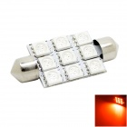 HONSCO Festoon 41mm 2W 150lm 9-5050 SMD LED Red Light Dome License Plate Bulb for Car (DC 12V)