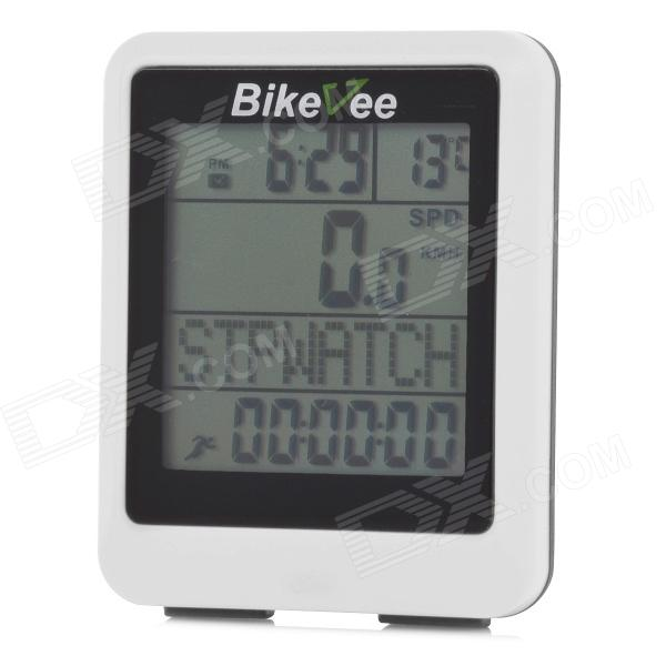 BIKEVEE BKV-9100H Multi-Functional 1.7 Screen Wireless Bike Computer w/ Heart Rate Function - White bikevee bkv 6000 2 2 display screen bike computer silver 1 x cr2032