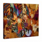 "Iarts AHA072909 Hand-painted ""Two Zebras"" Oil Painting - Red (60 x 60cm)"