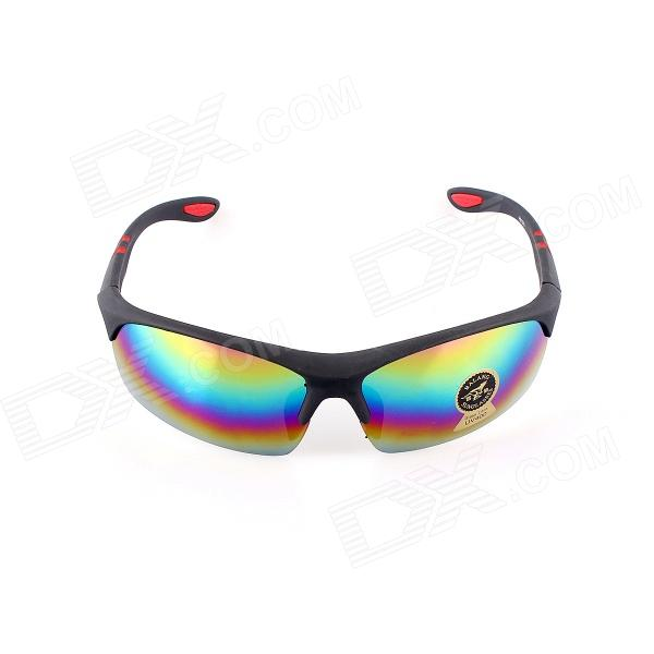 SYS0058 Sand Protection Blue REVO Lens UV400 Sports Goggles Sunglasses - Black
