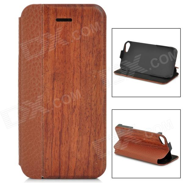 Beskyttende Wood + PU Leather Case for iPhone 5 / 5S - Brun