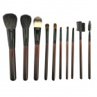 IN-Color YF-1035 Professional Cosmetic Makeup Wood Handle Brush Set - Dark Brown