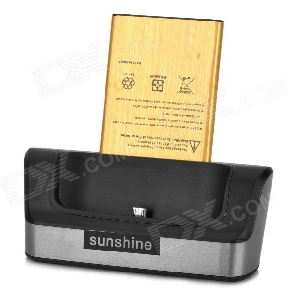 Sunshine OTG Charging Dock + 4200mAh Battery + Charging Cable - BlackDocks &amp; Cradles<br>Form ColorBlack + Silver GreyBrandSunshineModelN/AMaterialABSQuantity1 DX.PCM.Model.AttributeModel.UnitCompatible ModelsLG G3Output Current1.6 DX.PCM.Model.AttributeModel.UnitOutput Voltage5 DX.PCM.Model.AttributeModel.UnitInput Current1.6 DX.PCM.Model.AttributeModel.UnitInput Voltage5 DX.PCM.Model.AttributeModel.UnitOther FeaturesActual capacity: 3000mAh, made of copper corePacking List1 x Charging dock1 x Charging cable (95cm)1 x Battery<br>