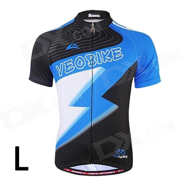 VEOBIKE Men's Cycling Riding Short Sleeves Jersey Top Clothes - Black + Blue + White  (L)