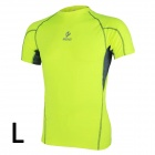 ARSUXEO AR109 Sports Cycling Running Short-Sleeve Tight Fit Jersey Top - Fluorescent Green (L)