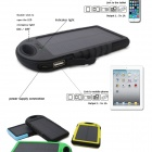 SP5000 Universal Rainproof Shockproof 4000mAh Solar Powered Li-ion Battery Power Bank - Black