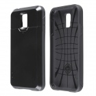 PC and Silicone Slim Armor Back Case with Card Holder Slider for Samsung Galaxy S5 - Black